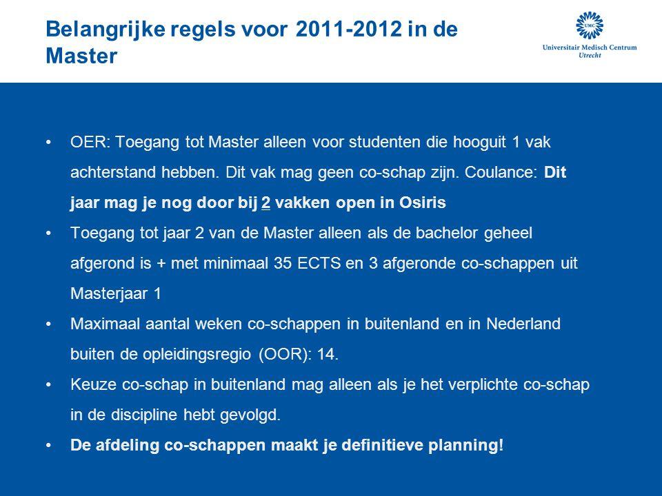 Belangrijke regels voor 2011-2012 in de Master