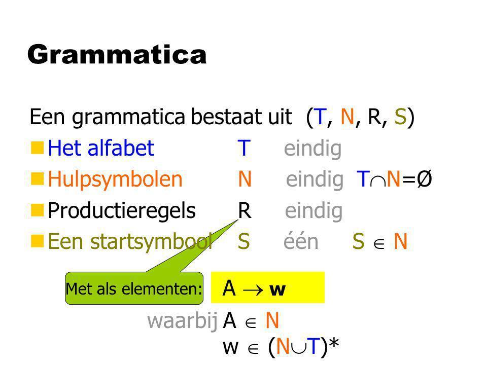 Grammatica Een grammatica bestaat uit (T, N, R, S)