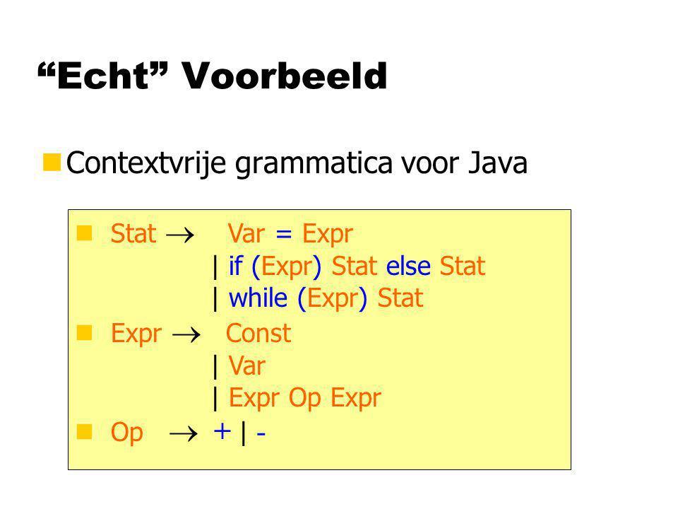 Echt Voorbeeld Contextvrije grammatica voor Java