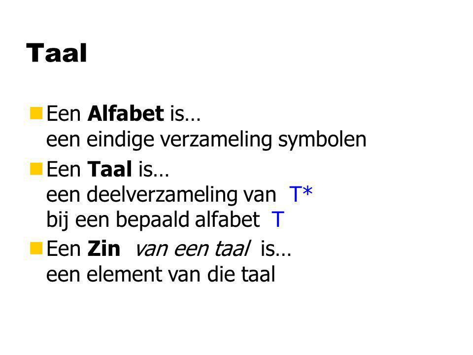Taal Een Alfabet is… een eindige verzameling symbolen