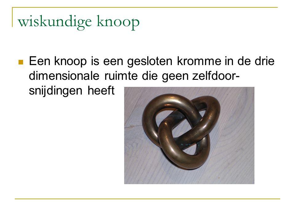 wiskundige knoop Een knoop is een gesloten kromme in de drie dimensionale ruimte die geen zelfdoor-snijdingen heeft.