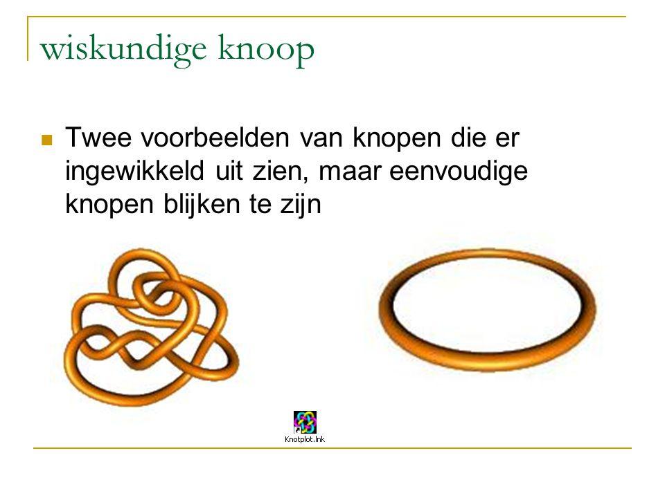 wiskundige knoop Twee voorbeelden van knopen die er ingewikkeld uit zien, maar eenvoudige knopen blijken te zijn.