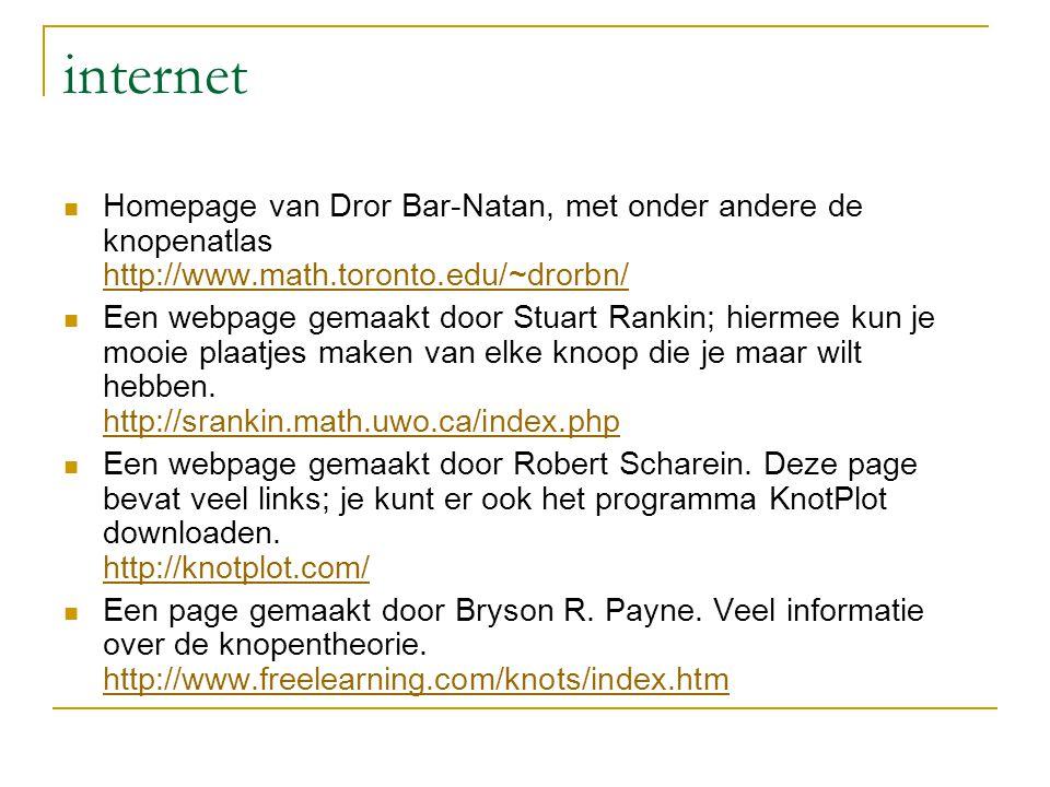 internet Homepage van Dror Bar-Natan, met onder andere de knopenatlas http://www.math.toronto.edu/~drorbn/
