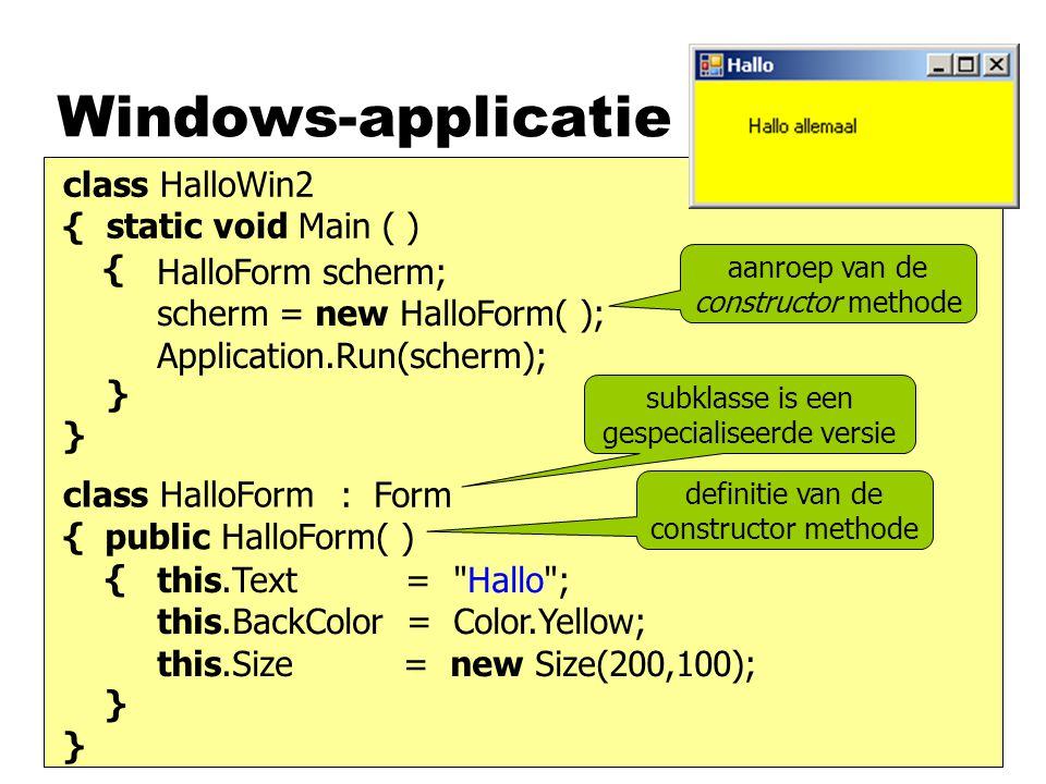 Windows-applicatie class HalloWin2 { static void Main ( ) { }