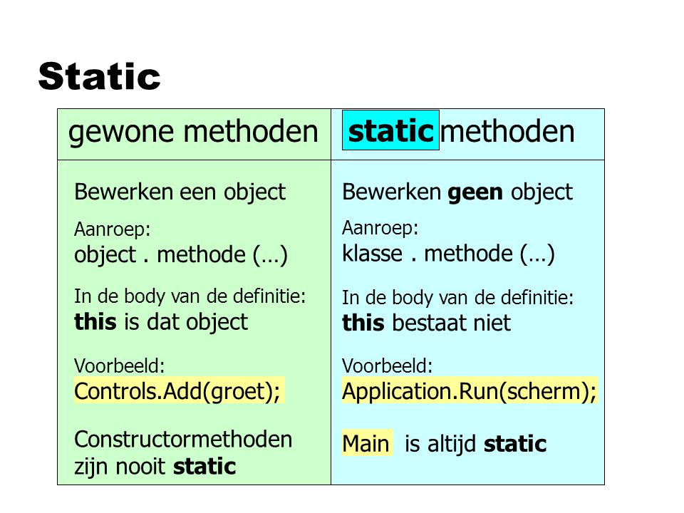 Static gewone methoden static methoden static Bewerken een object
