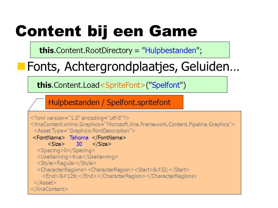 Content bij een Game Fonts, Achtergrondplaatjes, Geluiden…