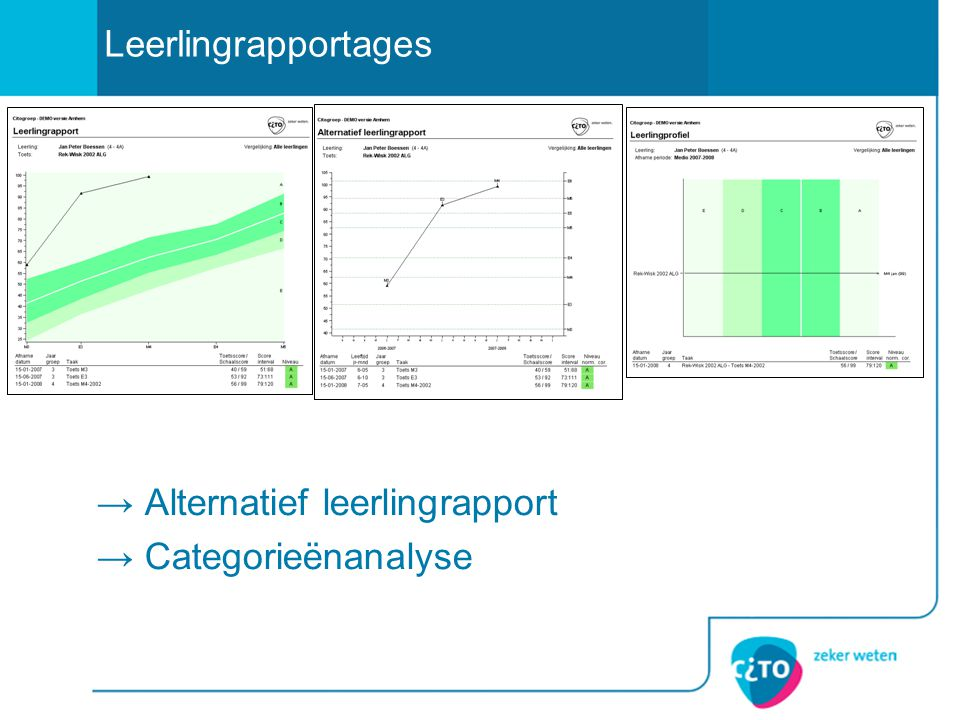 → Alternatief leerlingrapport → Categorieënanalyse