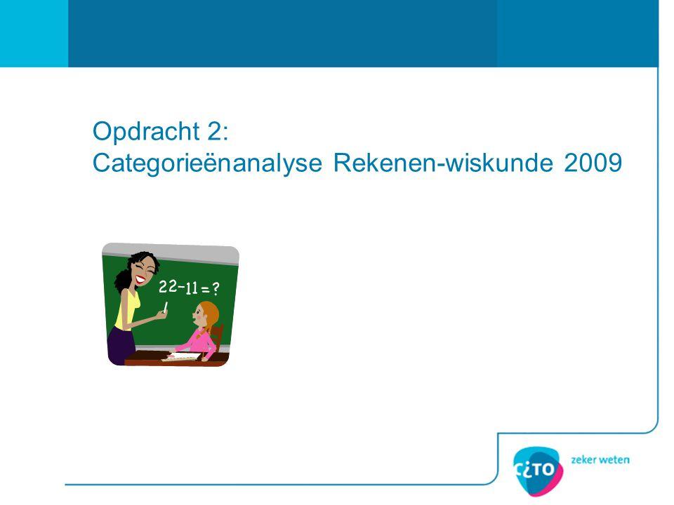 Opdracht 2: Categorieënanalyse Rekenen-wiskunde 2009