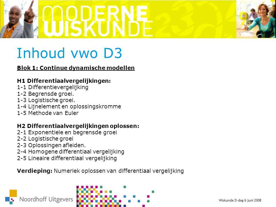 Inhoud vwo D3 Blok 1: Continue dynamische modellen