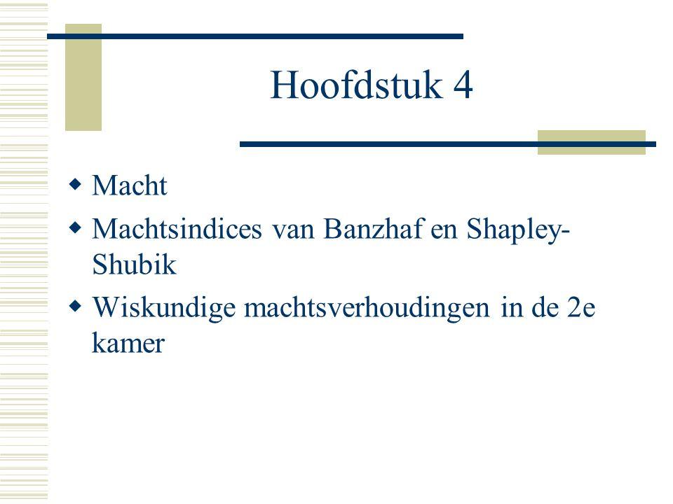 Hoofdstuk 4 Macht Machtsindices van Banzhaf en Shapley-Shubik