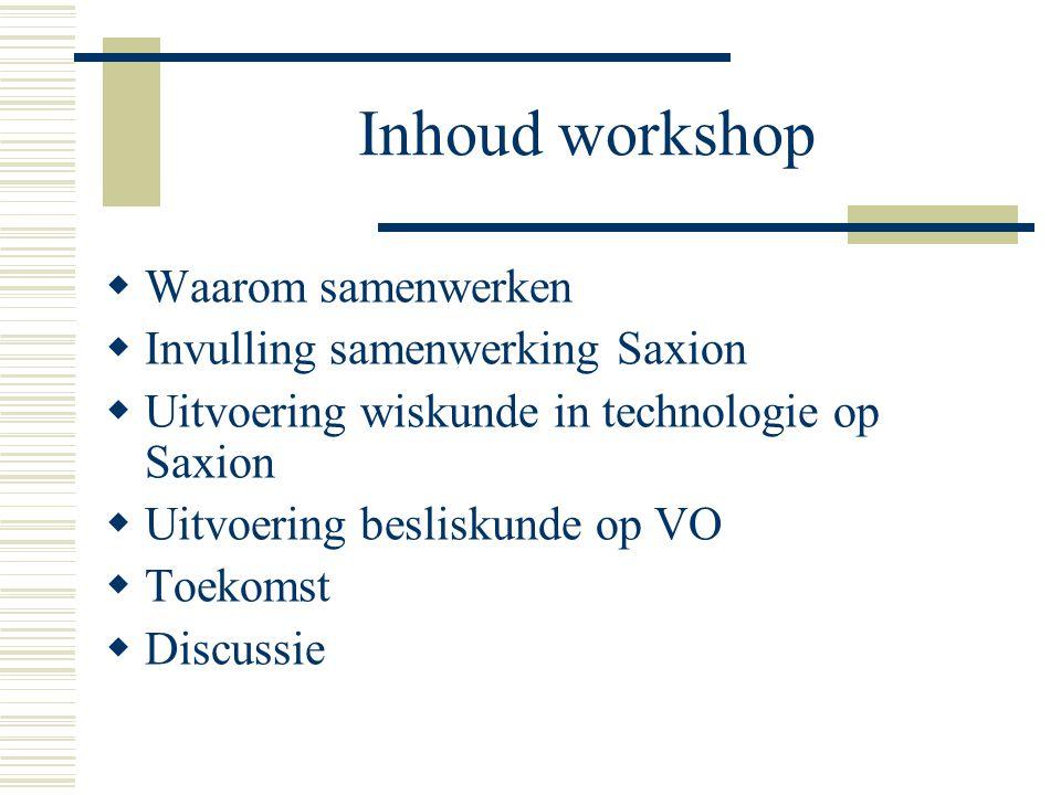Inhoud workshop Waarom samenwerken Invulling samenwerking Saxion