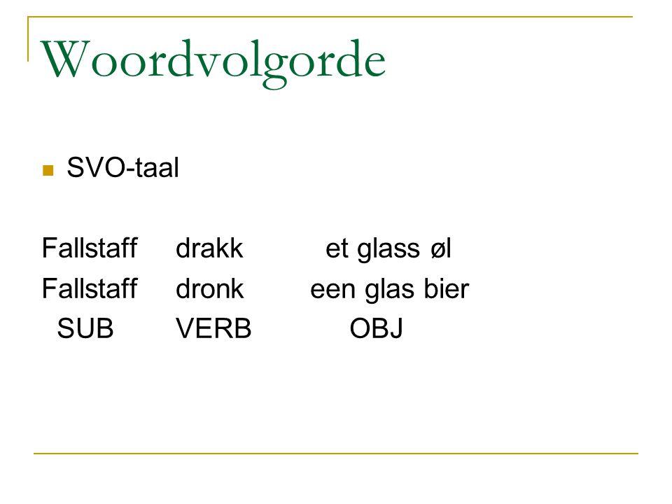 Woordvolgorde SVO-taal Fallstaff drakk et glass øl