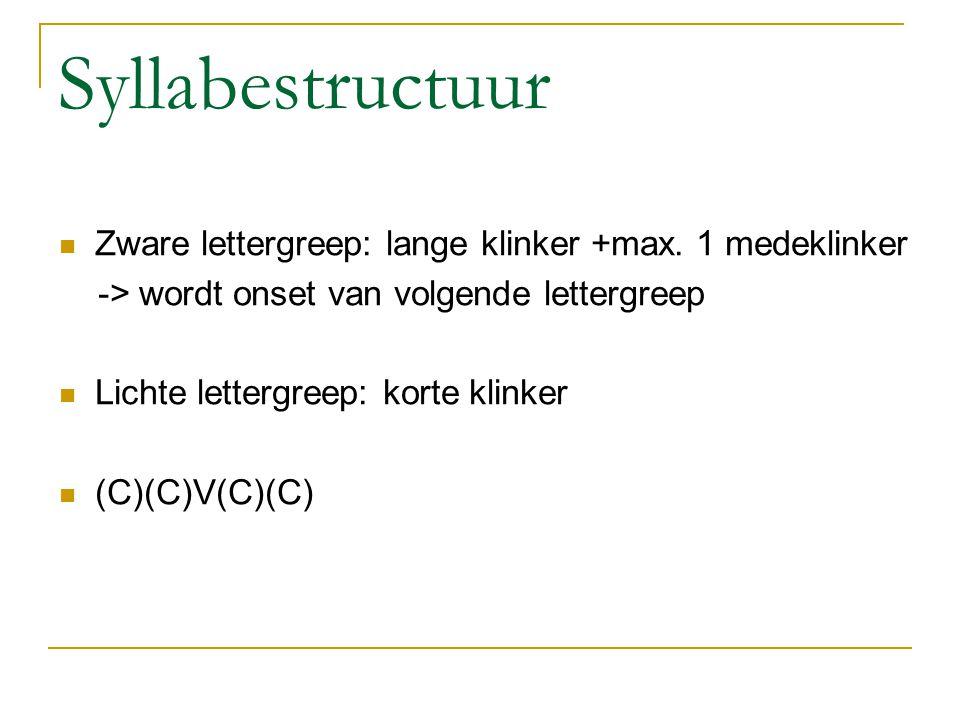 Syllabestructuur Zware lettergreep: lange klinker +max. 1 medeklinker