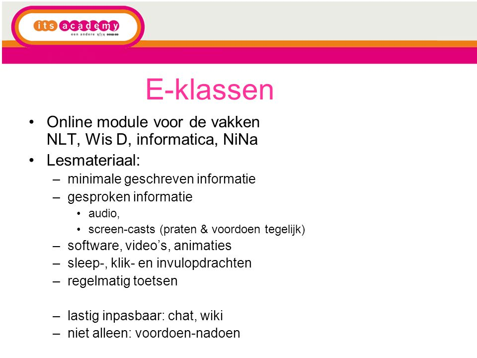 E-klassen Online module voor de vakken NLT, Wis D, informatica, NiNa
