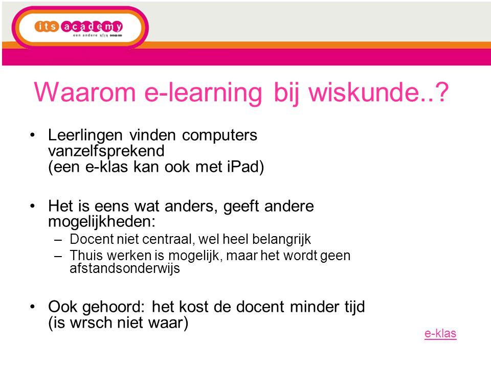 Waarom e-learning bij wiskunde..
