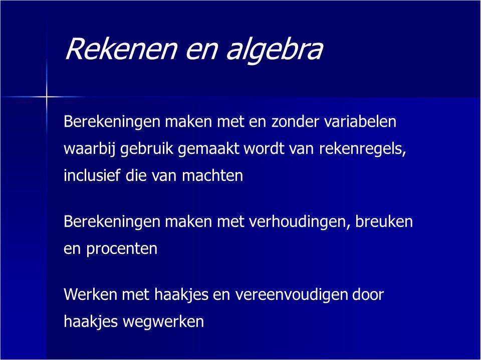 Rekenen en algebra Berekeningen maken met en zonder variabelen waarbij gebruik gemaakt wordt van rekenregels, inclusief die van machten.