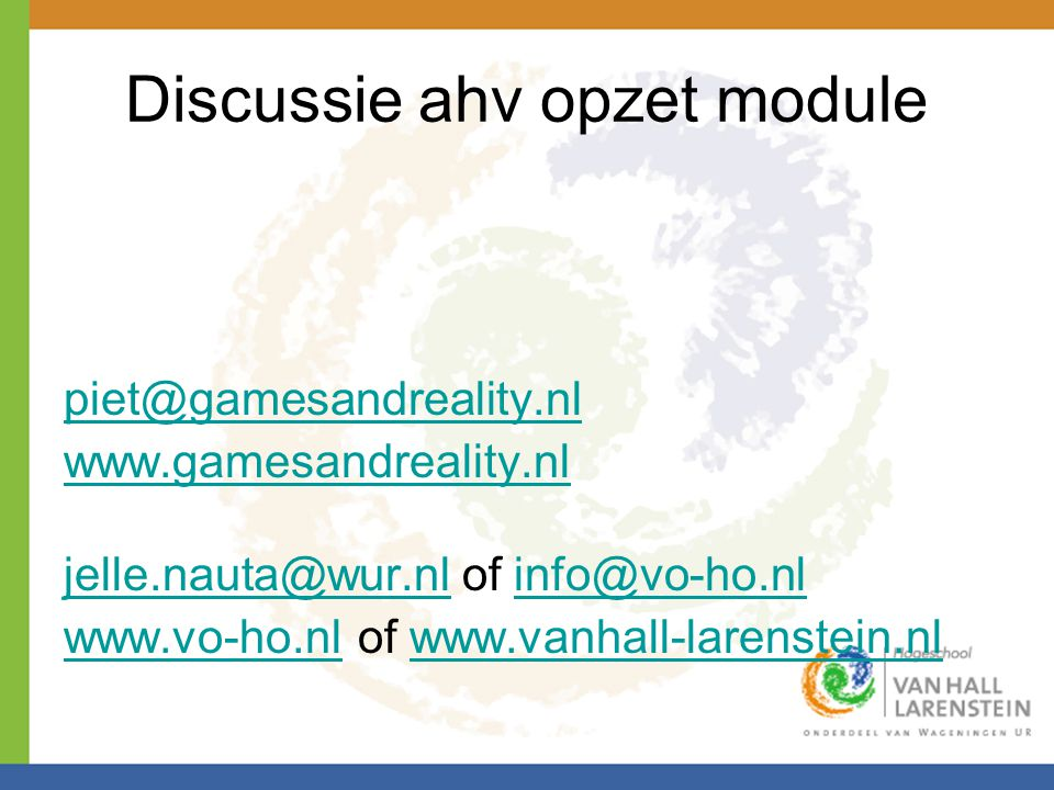 Discussie ahv opzet module