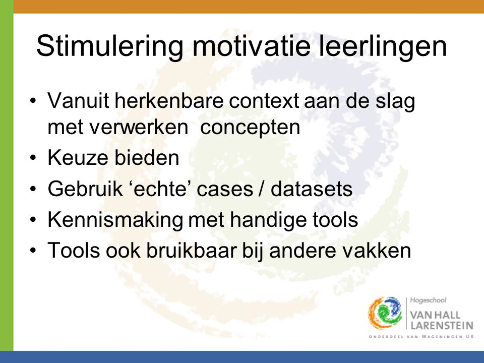 Stimulering motivatie leerlingen