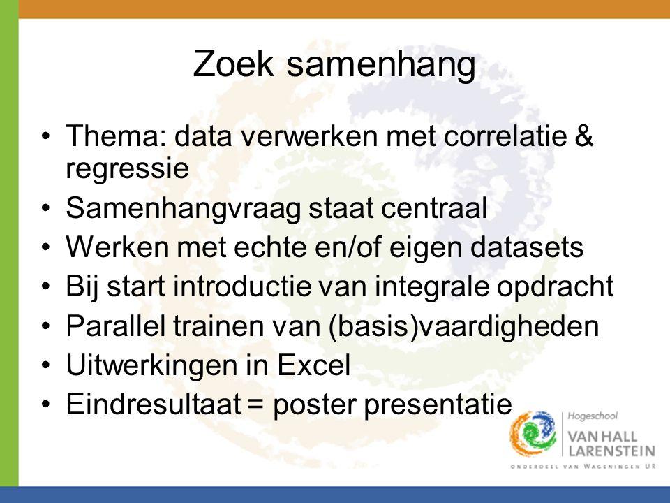 Zoek samenhang Thema: data verwerken met correlatie & regressie