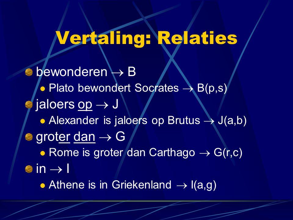 Vertaling: Relaties bewonderen  B jaloers op  J groter dan  G
