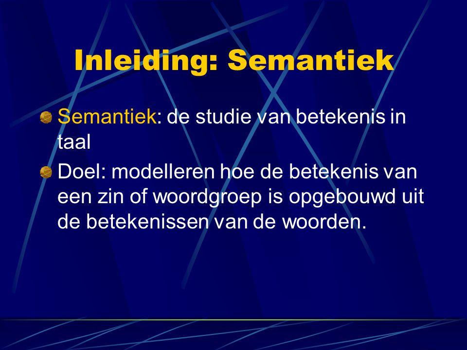 Inleiding: Semantiek Semantiek: de studie van betekenis in taal