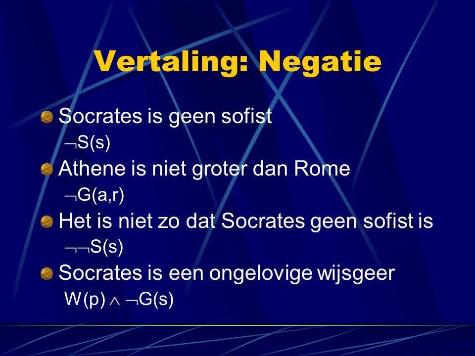 Vertaling: Negatie Socrates is geen sofist