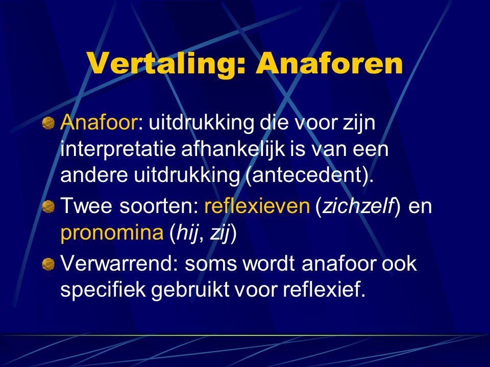Vertaling: Anaforen Anafoor: uitdrukking die voor zijn interpretatie afhankelijk is van een andere uitdrukking (antecedent).