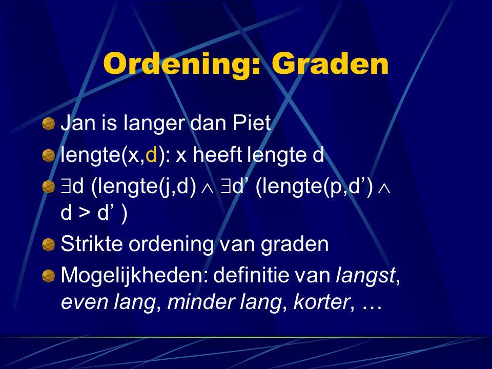 Ordening: Graden Jan is langer dan Piet lengte(x,d): x heeft lengte d