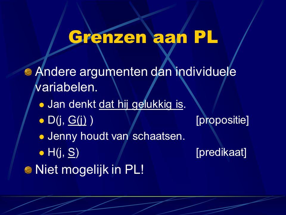 Grenzen aan PL Andere argumenten dan individuele variabelen.