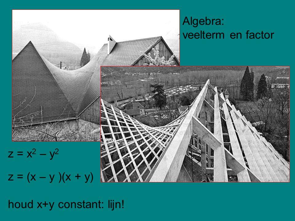 Algebra: veelterm en factor z = x2 – y2 z = (x – y )(x + y) houd x+y constant: lijn!