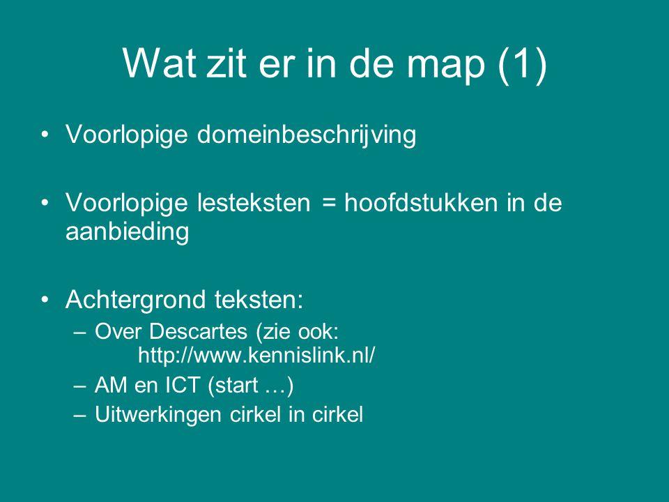 Wat zit er in de map (1) Voorlopige domeinbeschrijving