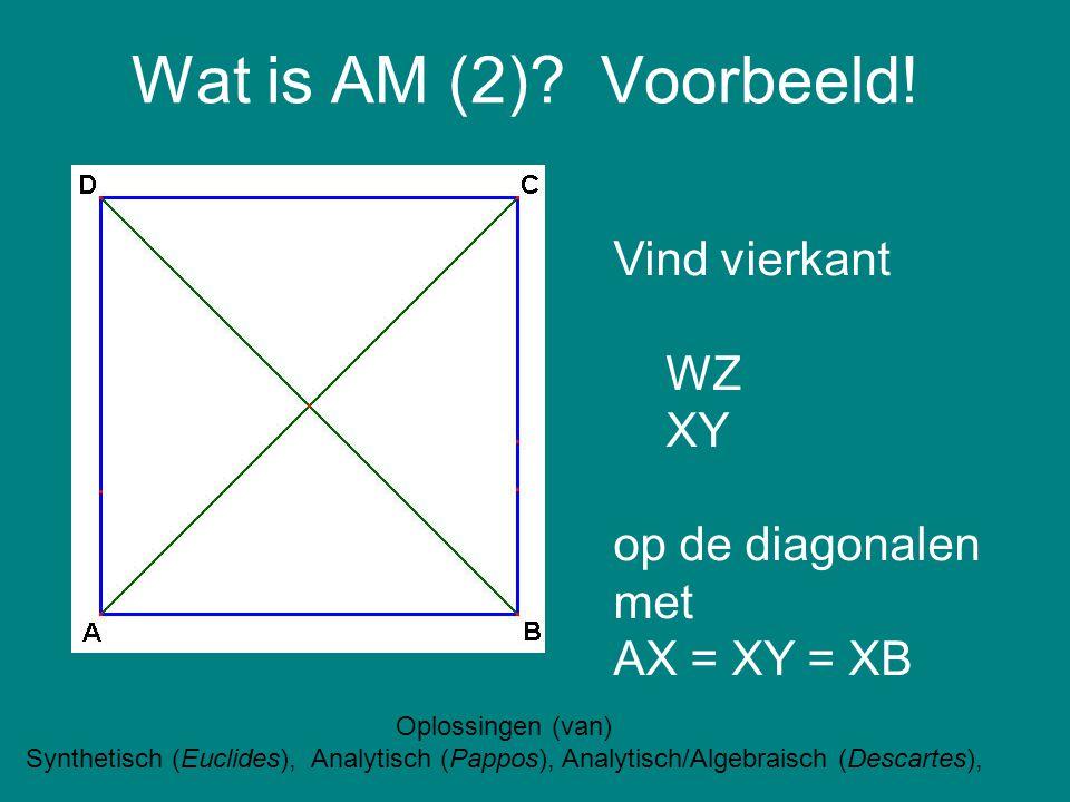 Wat is AM (2) Voorbeeld! Vind vierkant WZ XY op de diagonalen met