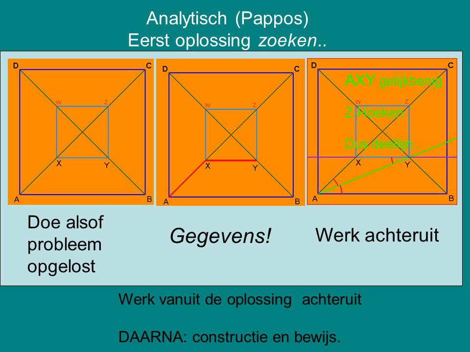 Analytisch (Pappos) Eerst oplossing zoeken..