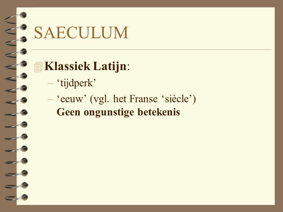 SAECULUM Klassiek Latijn: 'tijdperk'