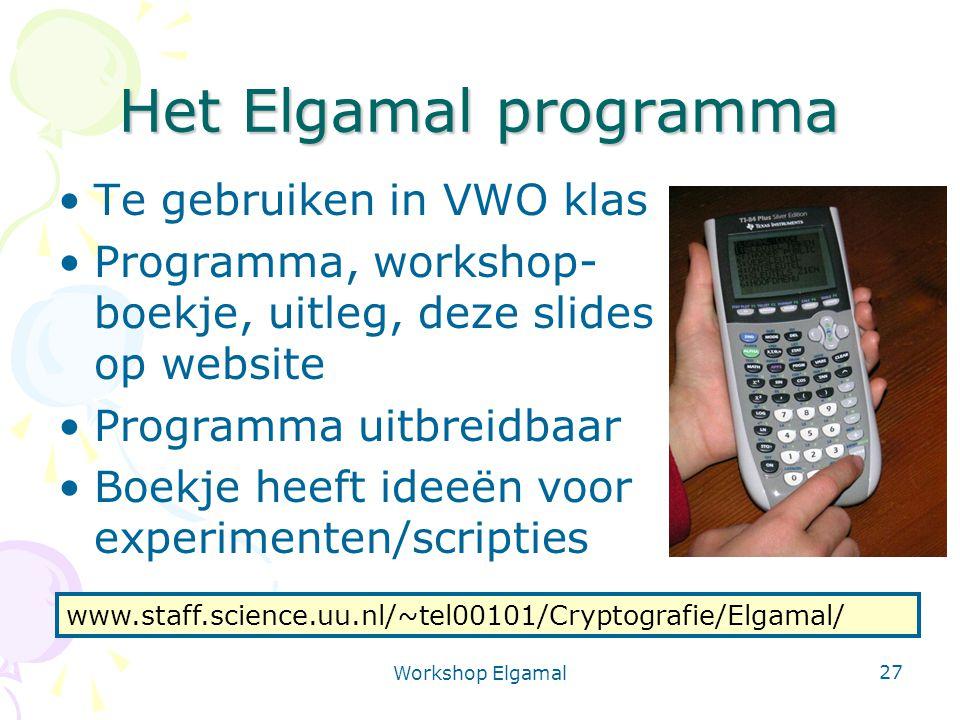 Het Elgamal programma Te gebruiken in VWO klas