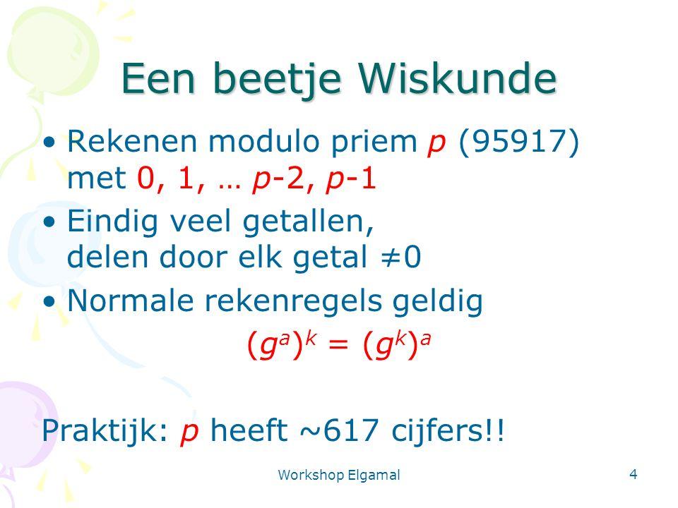 Een beetje Wiskunde Rekenen modulo priem p (95917) met 0, 1, … p-2, p-1. Eindig veel getallen, delen door elk getal ≠0.