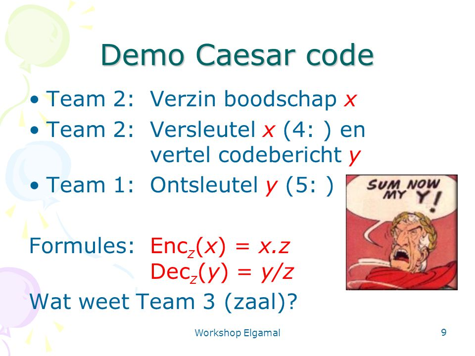 Demo Caesar code Team 2: Verzin boodschap x