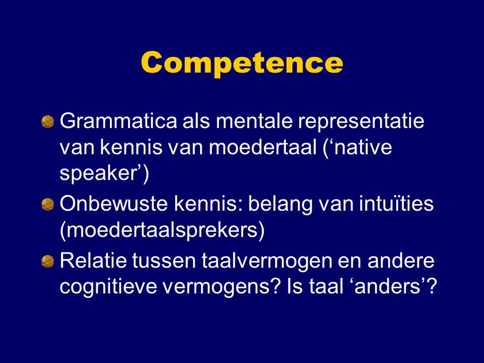 Competence Grammatica als mentale representatie van kennis van moedertaal ('native speaker')