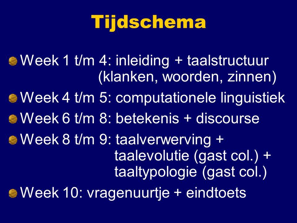 Tijdschema Week 1 t/m 4: inleiding + taalstructuur (klanken, woorden, zinnen) Week 4 t/m 5: computationele linguistiek.
