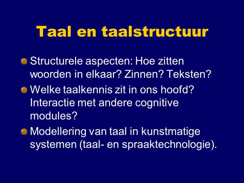 Taal en taalstructuur Structurele aspecten: Hoe zitten woorden in elkaar Zinnen Teksten