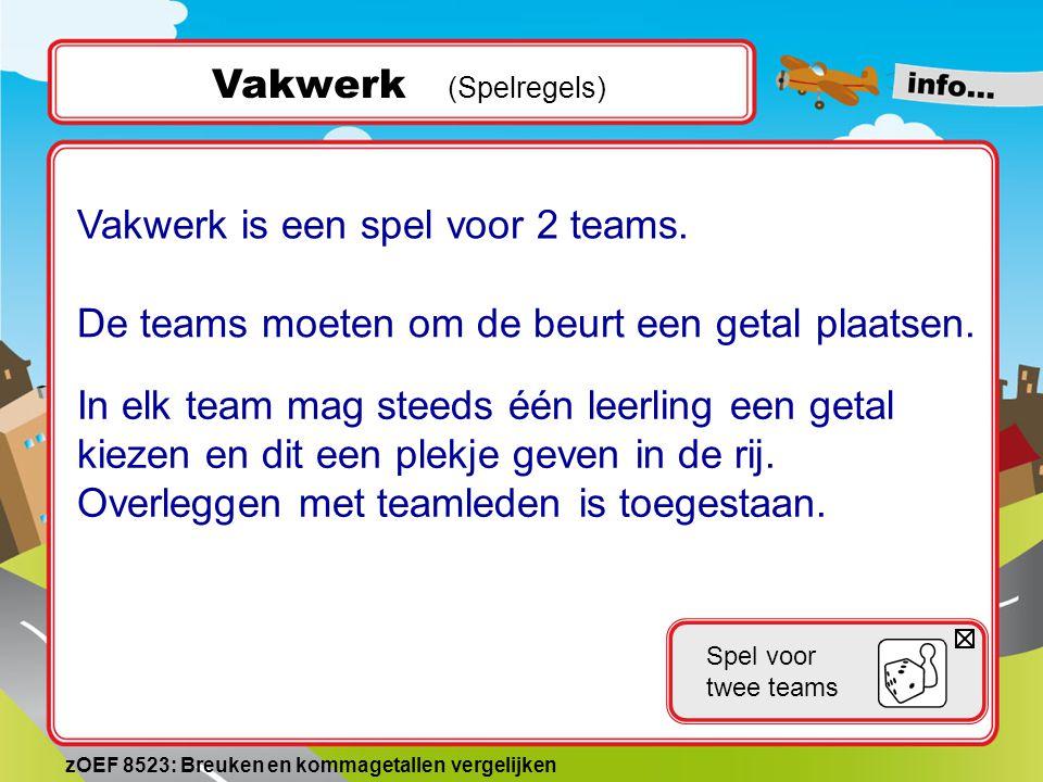 Vakwerk is een spel voor 2 teams.