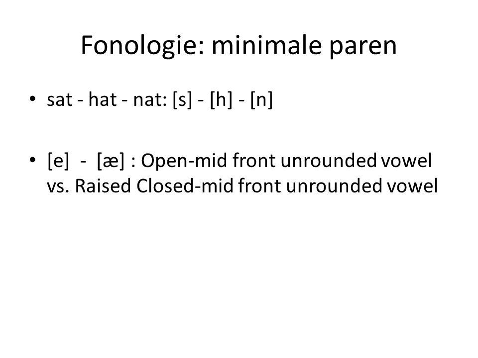 Fonologie: minimale paren