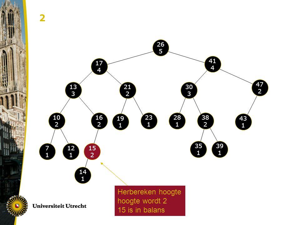 2 Herbereken hoogte hoogte wordt 2 15 is in balans 26 5 41 4 17 4 47 2