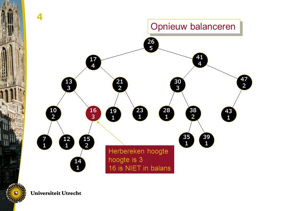 Opnieuw balanceren 4 Herbereken hoogte hoogte is 3