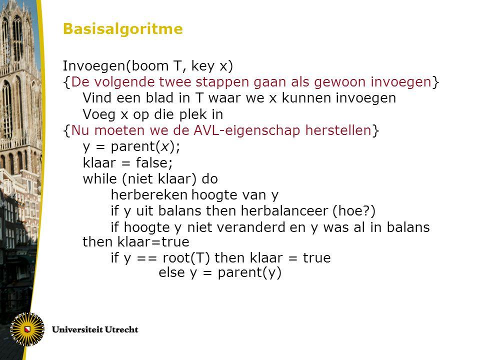 Basisalgoritme Invoegen(boom T, key x)