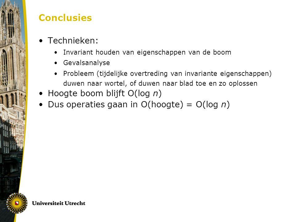 Conclusies Technieken: Hoogte boom blijft O(log n)