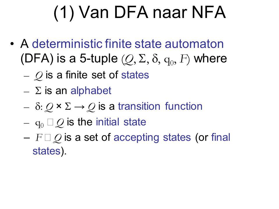(1) Van DFA naar NFA A deterministic finite state automaton (DFA) is a 5-tuple (Q, S, d, q0, F) where.