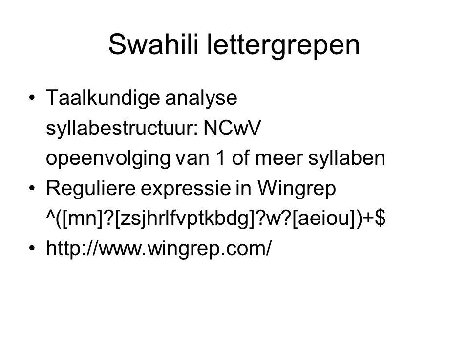 Swahili lettergrepen Taalkundige analyse syllabestructuur: NCwV
