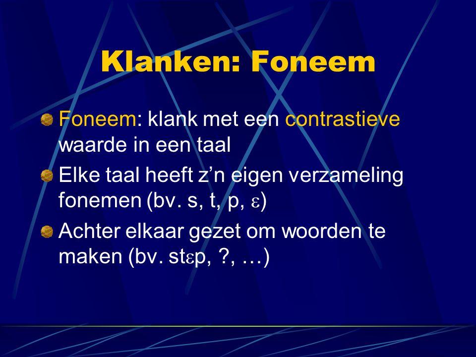 Klanken: Foneem Foneem: klank met een contrastieve waarde in een taal