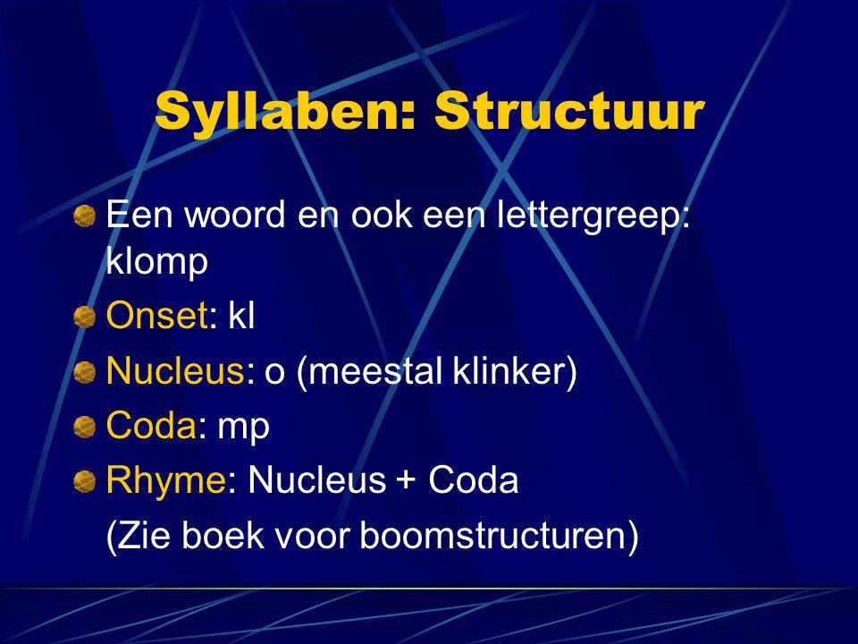 Syllaben: Structuur Een woord en ook een lettergreep: klomp Onset: kl